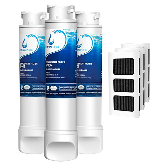 Frigidaire EPTWFU01 Water Filter with Air Filter Frigidaire Refrigerator by GlacialPure 3Pack
