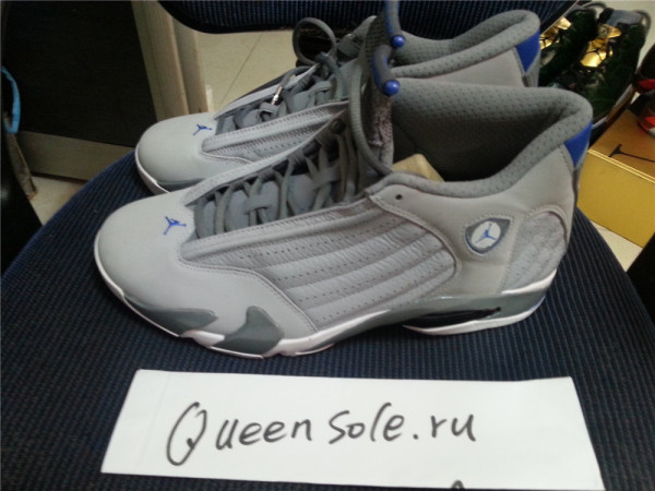 Authentic Air Jordan 14 Retro – Silver – Sport Blue – White