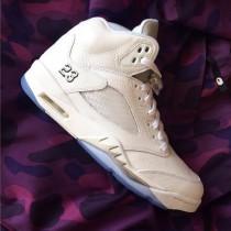 Authentic Air Jordan 5 White/Metallic Silver