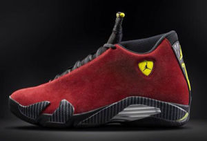 Authentic Air Jordan 14 red seude
