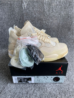 "Authentic OFF-WHITE x Air Jordan 4 SP WMNS ""Sail"""