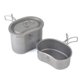 Camping Titanium Cookware Set, Partable Foldable Handles with Lid 380ml+740ml