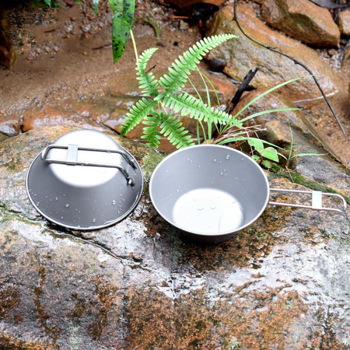Camping Titanium Bowl with Folding Handle 300ml