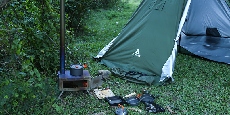 camping cooking with hot tent