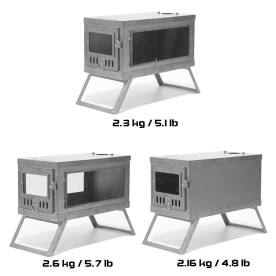 Extra 2 Side Panel Set ( 1 Glass Side Panel + 1 Titanium Side Panel) for TIMBER Stove