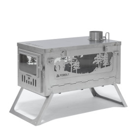 T1 WOODS NIGHT - POMOLY Titanium Wood Stove - Winter Limited Edition (9.84ft / 3m Chimney + Spark Arrestor)