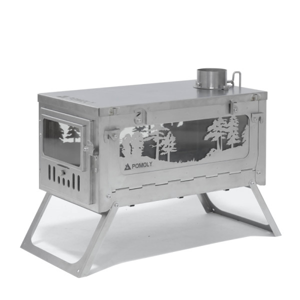 POMOLY T1 Woods Night | Fastfold Titanium Wood Stove for Camping and Hunting | Winter Edition