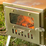 T1 mini | Fastfold Titanium Wood Tent Stove for Hot Tent Solo Camping Bushcraft | POMOLY