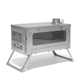 T1 Stove PERSPECTIVE Titanium Wood Stove for Hot Tent (6.56ft / 2m or 9.84ft / 3m Chimney + Spark Arrestor)