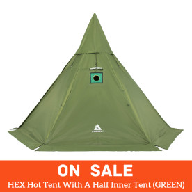 【SALE】HEX Hot Tent With A Half Inner Tent (GREEN)
