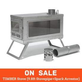 【SALE】TIMBER Stove (9.8ft Pipe + Spark Arrestor)