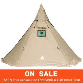 【SALE】YARN Plus Canvas Hot Tent With A Half Inner Tent (Khaki)