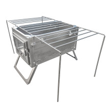POMOLY Portable Barbecues Cooking Stove With Gills and Side Shelves