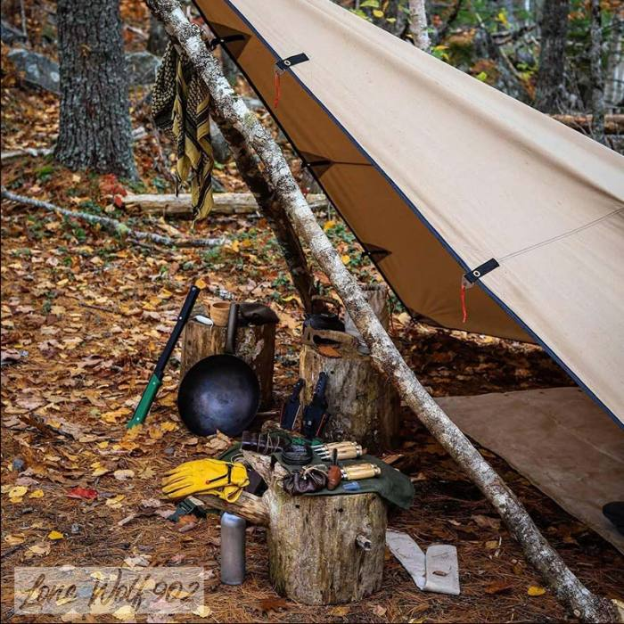 Rhombus Shelter   Canvas Wolf Den Tarp 1.0 for Solo Bushcraft   Lonewolf902 Signature