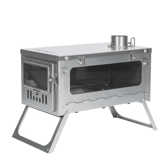 POMOLY T1 Stove PERSPECTIVE Titanium Wood Stove for Hot Tent (6.56ft / 2m or 9.84ft / 3m Chimney + Spark Arrestor)