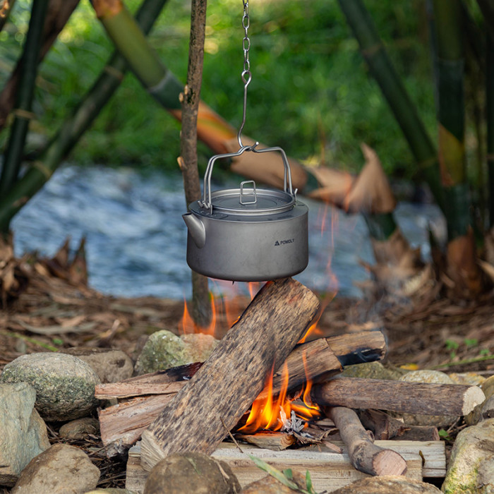 POMOLY Titanium Kettle 1.0L | Ultralight Backpacking Coffee Pot | New Arrival 2021