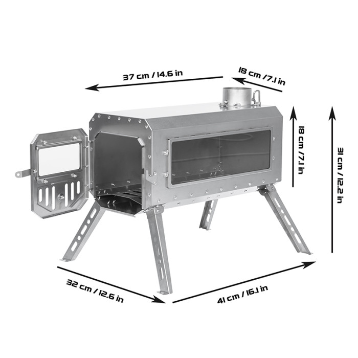 Traveller Wood Stove   Non Rolling Titanium Chimney Version   Ultralight Tent Stove   2021 New Arrival