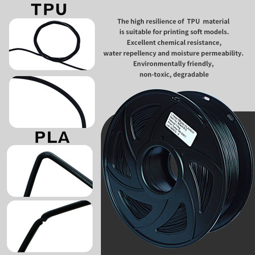 3D Flexible Black TPU Filament 1.75 mm, 2.2 LBS (1KG)