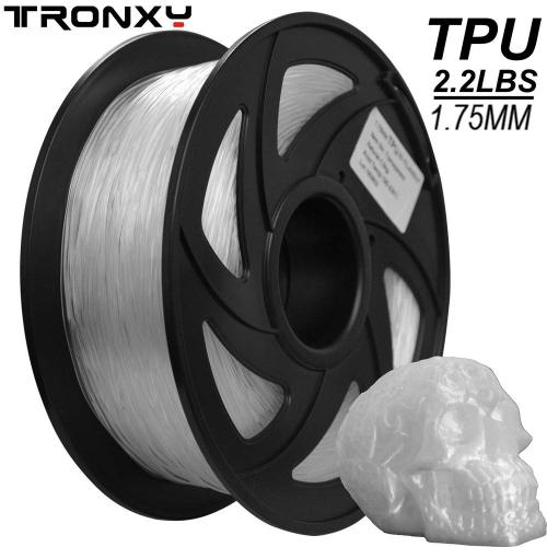 3D Flexible Clear TPU Filament, 1.75mm, 2.2LBS( 1KG)