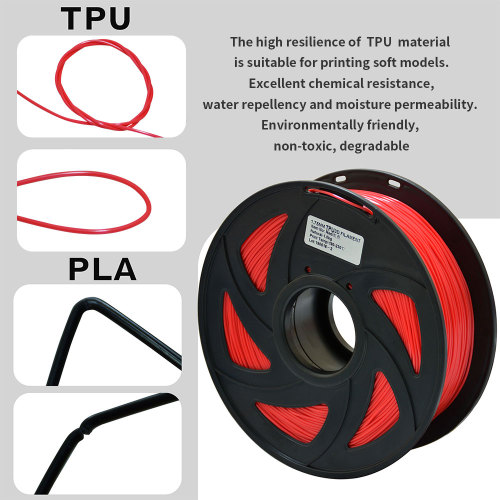 3D Flexible Red TPU Filament 1.75 mm, 2.2 LBS (1KG)