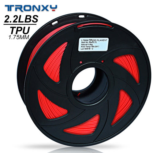 3D Flexible Red TPU Filament 1.75 mm, 2.2 LBS (1KG) Material: TPU