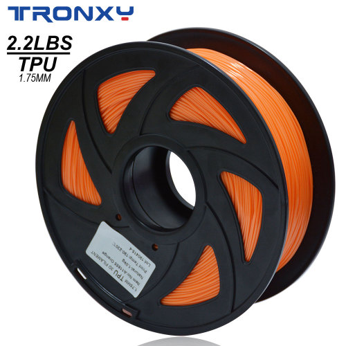 3D Flexible Orange TPU Filament 1.75 mm, 2.2 LBS (1KG)