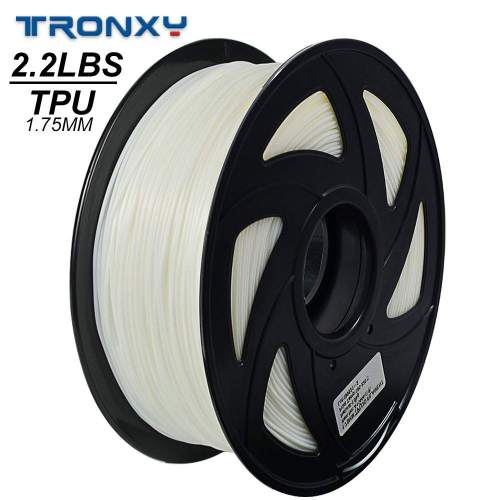 3D Flexible White TPU Filament 1.75 mm, 2.2 LBS (1KG) Material: TPU
