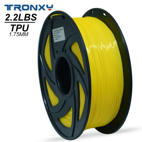 3D Flexible Yellow TPU Filament 1.75 mm, 2.2 LBS (1KG) Material: TPU