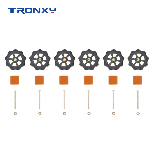 Tronxy 6PCS M3 Adjusting Screws Nuts Heat Bed Leveling Knob Parts with Silicone Solid Spacer 3D Printers Print Platform Screw Calibration Accessories