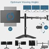 """(EU EXCLUSIVE)PUTORSEN® Dual Monitor Stand for 13-32"""" Screens - Height Adjustable Double Arm Desk Mount Bracket with ±180° Tilt, 360° Rotation & Twin 360° Swivel Arms - Each Arm Holds 8kg - Easy Installation"""