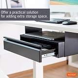 (EU EXCLUSIVE)PUTORSEN® Space Saving Under Desk Drawer with Shelf, Steel Construction, Black