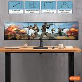 "(EU EXCLUSIVE)PUTORSEN® Triple Monitor Stand for 13-27"" LCD LED Screens - Three Arm Desk Mount Bracket - Ergonomic ±90° Tilt, 360° Rotation & 360° Swivel Arms - VESA Dimensions: 75x75-100x100, Up to 7kg per Arm"