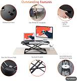 (EU EXCLUSIVE)PUTORSEN® Standing Desk Converter, 32'' Height Adjustable Sit Stand Desk Converter Ergonomic Standing up Work Station, Ultra Slim Folded Design