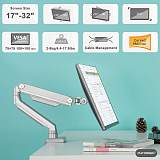(EU EXCLUSIVE)PUTORSEN Premium PC Monitor Arm Stand Desk Mount Bracket with Height Adjustable (Mechanical Powered) Full Motion Single Arm Desktop Clamp Mount for 17 -32  LCD LED Screens Max VESA 100x100mm Up to 8kg