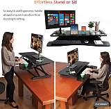 (EU EXCLUSIVE)PUTORSEN® Standing Desk Height Adjustable Sit Stand Desk Converter Stand Up Desk Riser Ergonomic Standing up Workstation with Keyboard Tray, 37.4  Wide Platform - Compatible with Monitor Arm