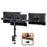 "(EU EXCLUSIVE)PUTORSEN® Triple Monitor Stand for 13-27"" LCD LED Screens - Three Arm Desk Mount Bracket - Ergonomic ±90° Tilt, 360° Rotation & 360° Swivel Arms - VESA Dimensions: 75x75-100x100, Up to 7kg per Arm"