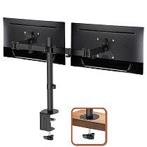 (EU EXCLUSIVE)PUTORSEN® PC Dual Monitor Arm Stand Desk Mount Bracket with Height Adjustable Double Arm Desktop Clamp Mount for 13 -32  LCD LED Screens and Max VESA 100x100mm up to 8kg per Arm (Tilt Swivel Rotation)