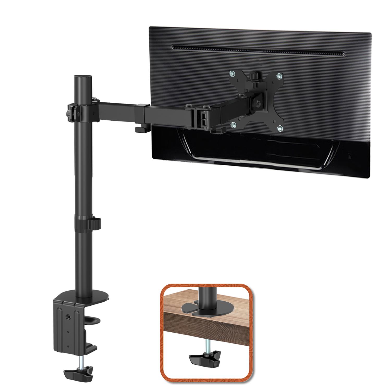 "(UK EXCLUSIVE)PUTORSEN® PC Monitor Mount – Ergonomic Height Adjustable Full Motion Single Arm Desk Stand Bracket with Clamp Mount for 13-32"" Screens (Tilt ±90°|Swivel 360°|Rotate 360°) VESA 75 to 100mm Weight 8 KG"