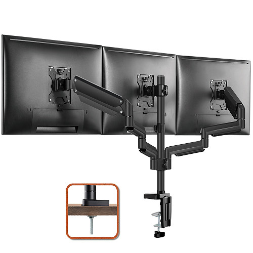 "(EU EXCLUSIVE)PUTORSEN® Aluminium Triple Monitor Mount for 17-27"" Screens - Gas Powered Three Arm Desk Mount Bracket with Clamp - ±90° Tilt, 360° Rotation & ±90° Swivel Arms - VESA: 75x75-100x100, Up to 7kg per Arm"