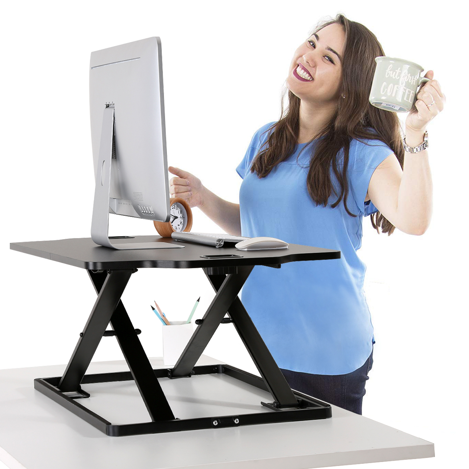 (EU EXCLUSIVE)PUTORSEN® Standing Desk Converter, 32'' Height Adjustable Sit Stand Desk Converter Ergonomic Standing up Work Station, Ultra Slim Folded Design