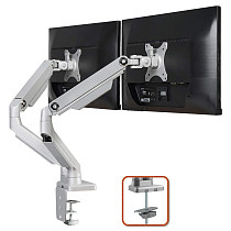(EU EXCLUSIVE)PUTORSEN® Premium PC Dual Monitor Arm Stand Desk Mount Bracket(Mechanical Powered) with Height Adjustable Full Motion Double Arm Desktop Clamp Mount for 17 -32  LCD LED Screens VESA 75-100mm Up to 8kg