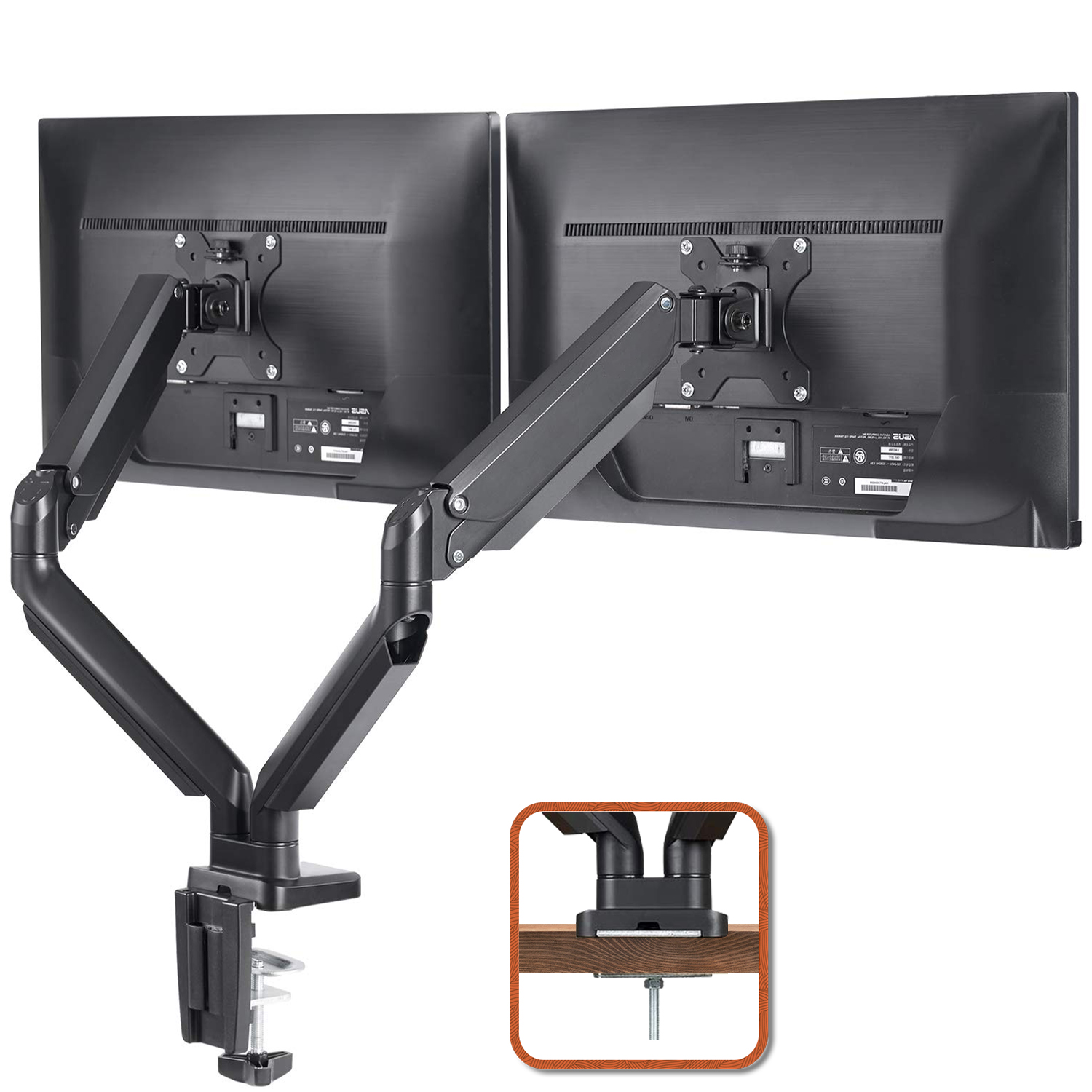 """(EU EXCLUSIVE)PUTORSEN® PC Dual Monitor Arm - Aluminum Ergonomic Height-Assisted Full Motion Heavy Duty Double Arm Desktop Clamp Mount for 17–32"""" Screens Adjustable Tilt Swivel VESA 75 to 100mm Weight up to 8kg"""