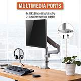"(EU EXCLUSIVE)PUTORSEN® PC Monitor Arm - Aluminum Ergonomic Height-Assisted Full Motion Heavy Duty Single Arm Desktop Clamp Mount for 17–32"" Screens VESA 75 to 100mm Weight up to 9kg (USB3.0 & Audio Ports)"