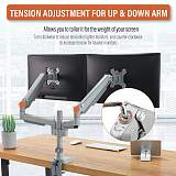 "(EU EXCLUSIVE)PUTORSEN® PC Dual Monitor Arm - Aluminum Ergonomic Height-Assisted Full Motion Heavy Duty Double Arm Desktop Clamp Mount for 17–32"" Screens VESA 75 to 100mm Weight up to 9kg (USB3.0 & Audio Ports)"
