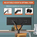 "(EU EXCLUSIVE)PUTORSEN® Dual Monitor Mount Arm - Steel Ergonomic Gas Powered Height-Assisted Full Motion Double Arm Desktop Clamp Mount for 17–27"" Screens Adjustable Tilt Swivel VESA 75 to 100mm Weight 2kg to 6.5kg"
