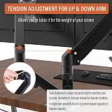 """(EU EXCLUSIVE)PUTORSEN® Dual Monitor Mount Arm - Steel Ergonomic Gas Powered Height-Assisted Full Motion Double Arm Desktop Clamp Mount for 17–27"""" Screens Adjustable Tilt Swivel VESA 75 to 100mm Weight 2kg to 6.5kg"""