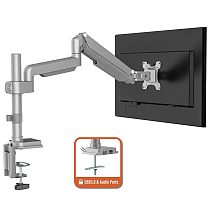 """(EU EXCLUSIVE)PUTORSEN® PC Monitor Arm - Aluminum Ergonomic Height-Assisted Full Motion Heavy Duty Single Arm Desktop Clamp Mount for 17–32"""" Screens VESA 75 to 100mm Weight up to 9kg (USB3.0 & Audio Ports)"""