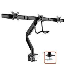 "(EU EXCLUSIVE)PUTORSEN® Aluminium Triple Monitor Mount for 17-27"" Screens - Gas Powered Three Arm Desk Mount Bracket with Clamp - +5°/-15° Tilt, ±180° Rotation & ±10° Swivel Arms - VESA: 75/100, Up to 6kg per Arm"