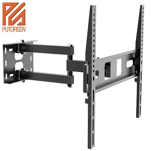 (EU EXCLUSIVE)PUTORSEN® TV Wall Bracket Mount Swivel and Tilt for Most 32-55 Inch LED, LCD, OLED and Plasma Flat Screen TVs up to VESA 400x400mm and 35 kg, Full Motion TV Bracket