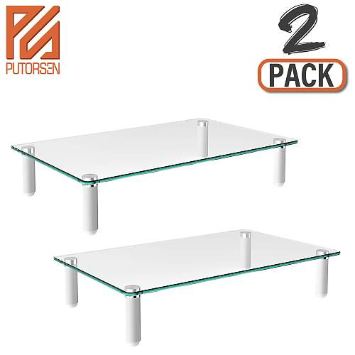 (EU EXCLUSIVE)PUTORSEN® Monitor Stand Riser for Computer, Laptop, Desk, Printer, 15.7 x 9.4 Inch Tempered glass (2 Pack)
